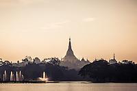 Views across to Shwedagon Pagoda, in the grounds of Kandawgyi Lake, Yangon, Burma.