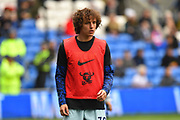 David Luiz (30) of Chelsea warming up before the Premier League match between Cardiff City and Chelsea at the Cardiff City Stadium, Cardiff, Wales on 31 March 2019.