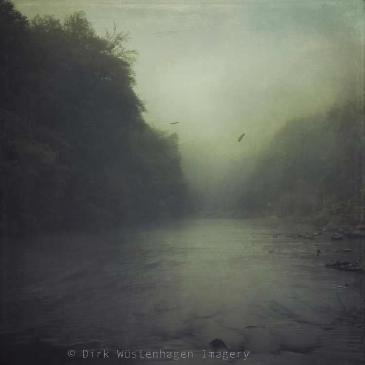Misty morning beside river Wupper/ Germany - texturized photograph