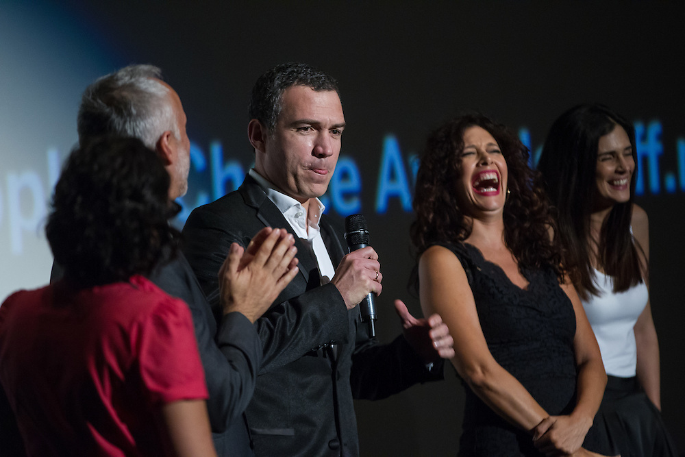 Salvador del Solar, star of The Vanished Elephant speaks to the audience during a question and answer session during the film's premier at the Toronto International Film Festival in Toronto, Ontario, September 6, 2014.<br /> AFP PHOTO/Geoff Robins