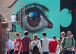 © Licensed to London News Pictures. 25/07/2015. Bristol, UK.  Piece by My Dog Sighs at Upfest 2015, Europe's largest, free, street art & graffiti festival, attracting over 250 artists painting 28 venues throughout Bedminster & Southville, Bristol.  Talented artists travel from 25 countries and across the UK to paint live on 30,000sqft of surfaces in front of 25,000 visitors. There is also an affordable art sale, music stages and art workshops.  Photo credit : Simon Chapman/LNP