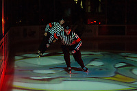 KELOWNA, CANADA - MARCH 3:  Referees Mike Campbell and Tyler Adair skate onto the ice at the Kelowna Rockets against the Portland Winterhawks on March 3, 2019 at Prospera Place in Kelowna, British Columbia, Canada.  (Photo by Marissa Baecker/Shoot the Breeze)