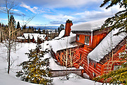 USA, Idaho, Valley County, Tamarack Resort, A Snow Covered Cabin
