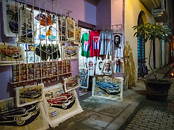 Havana vieja, street. Street sale, gift. Cuban souvenir t-shirts available to be purchased at private house.