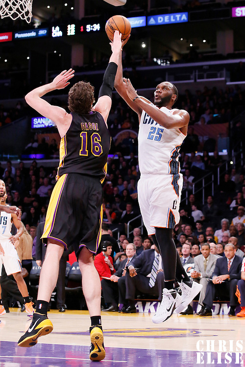 31 January 2014: Charlotte Bobcats center Al Jefferson (25) goes for the jumper over Los Angeles Lakers center Pau Gasol (16) during the Charlotte Bobcats 110-100 victory over the Los Angeles Lakers at the Staples Center, Los Angeles, California, USA.
