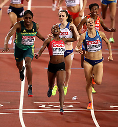 Kenya's Faith Chepngetich Kipyegon celebrates winning the Women's 1500m Final ahead of USA's Jennifer Simpson, South Africa's Caster Semenya and Great Britain's Laura Muir during day four of the 2017 IAAF World Championships at the London Stadium.