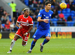 Adama Traore of Middlesbrough applies pressure on Marko Grujic of Cardiff City- Mandatory by-line: Nizaam Jones/JMP - 17/02/2018 -  FOOTBALL - Cardiff City Stadium - Cardiff, Wales -  Cardiff City v Middlesbrough - Sky Bet Championship