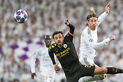 Real Madrid's Sergio Ramos and Manchester City's Riyad Mahrez during the UEFA Champions League round of 16 first leg match Real Madrid v Manchester City at Santiago Bernabeu stadium on February 26, 2020 in Madrid, Sdpain. Real was defeated 1-2. Photo by David Jar/AlterPhotos/ABACAPRESS.COM