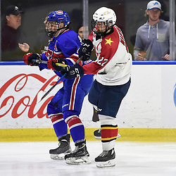 BUFFALO, NY - SEP 20,  2017: Ontario Junior Hockey League Governors Showcase game between the Toronto Jr. Canadiens and Wellington Dukes, Brayden Sampson #4 of the Toronto Jr. Canadiens battles for position with  Mitchell Martan #22 of the Wellington Dukes during the second period.<br /> (Photo by Andy Corneau / OJHL Images)