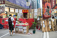 A makeshift shrine set up wthin the protest site at Mongkok. Protesters known as the Umbrella Revolution or Occupy Mongkok, an extension of the larger Occupy Central movement, have taken over a number of blocks on the busy road and staged an ongoing demonstration calling for universal suffrage for Hong Kong.