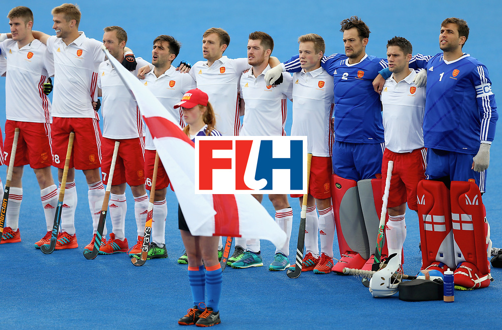 LONDON, ENGLAND - JUNE 24: England players sing the national anthem prior to the semi-final match between England and the Netherlands on day eight of the Hero Hockey World League Semi-Final at Lee Valley Hockey and Tennis Centre on June 24, 2017 in London, England. (Photo by Steve Bardens/Getty Images)