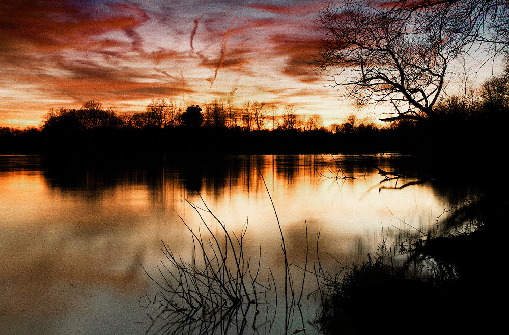 Sunset on Lake Luxembourg in Bucks County, Pennsylvania.