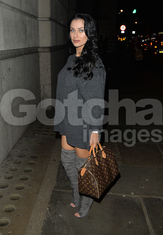 Pregnant Cally Jane Beech out in Mayfair, London, UK. 04/12/2106<br />BYLINE MUST READ : GOTCHAIMAGES.COM<br /><br />Copyright by © Gotcha Images Ltd. All rights reserved.<br />Usage of this image is conditional upon the acceptance <br />of Gotcha Images Ltd, terms and conditions available at<br />www.gotchaimages.com