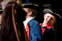 JEROME A. POLLOS/Press..Sam Loutzenhiser, 9, checks the line-up of his cast members during a musical skit Thursday about Meriwether Lewis and William Clark at Ponderosa Elementary in Post Falls.