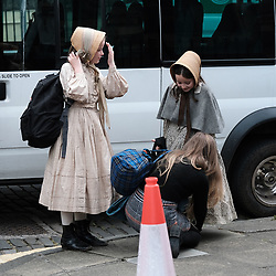 "Moray Place in Edinburgh's Georgian old town was turned into 19th century London for Julian Fellowes' new ITV show ""Belgravia"".<br /> <br /> Pictured: Young extras arrive on set<br /> <br /> Alex Todd 