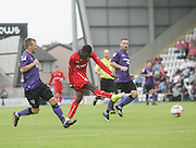 Kieron Cadogan equalises for Dundee - Morecambe v Dundee, pre-season friendly at the Globe Arena<br /> <br />  - &copy; David Young - www.davidyoungphoto.co.uk - email: davidyoungphoto@gmail.com