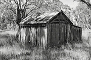 dilapidated  bush hut in a clearing of trees  and high grass near Balmoral, Victoria, Australia. <br />