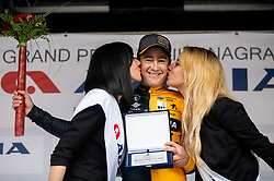 Best at Mountain classification Benjamin Hill of Ljubljana Gusto team celebrates at Trophy ceremony after the cycling race 5th Grand Prix Adria Mobil, on April 7, 2019, in Slovenia. Photo by Vid Ponikvar / Sportida