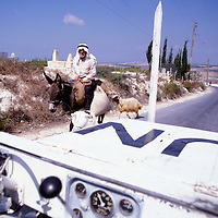 A United Nations jeeps passes an old man riding on a donkey enroute to market with a sheep in Southern Lebanon. The Jeep was on patrol with the UNIFIL troops in teh region.