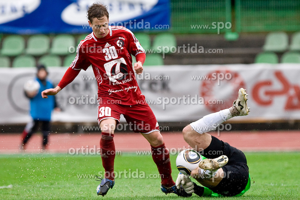 Matic Fink of Interblock vs Vasja Simcic of Gorica at football match of 25th Round of 1st Slovenian League  between NK Interblock and NK Hit Gorica, on March 31, 2010, in ZAK Stadium, Ljubljana, Slovenia. Gorica defeated Interblock 5-0. (Photo by Vid Ponikvar / Sportida)