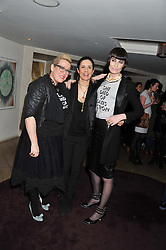 Left to right, KATE HALFPENNY co-fonder of She Died of Beauty, LIVIA FIRTH and ERIN O'CONNOR co-fonder of She Died of Beauty at the launch of 'She Died of Beauty' as part of London Fashion Week Autumn/Winter 2012 held at The Club at The Ivy Club, London on 17th February 2012.