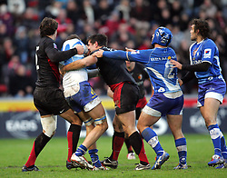 Vassilli Bost (L) of Montpellier and Florian Fritz (R) fight with each other. Stade Toulousain v Montpellier, Top 14 Rugby, Stade Ernest Wallon, Toulouse, France, 3rd Jan 2009.