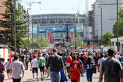 May 19, 2018 - London, England, United Kingdom - Fans head into Wembley Stadium  attend The Emirates FA Cup Final between Chelsea and Manchester United at Wembley Stadium on May 19, 2018 in London, England. (Credit Image: © Alex Cavendish/NurPhoto via ZUMA Press)