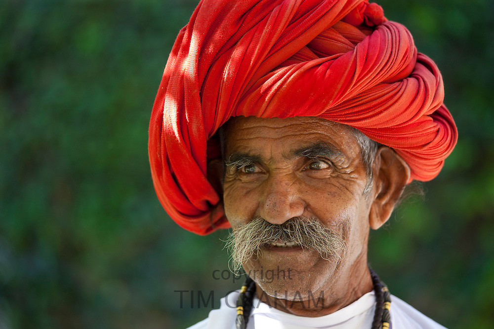 Indian man with traditional Rajasthani turban in Narlai village in Rajasthan, Northern India. MODEL RELEASED.