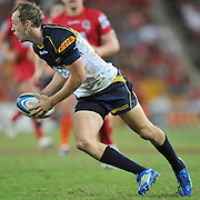 "Jesse Mogg sets to run the ball back for the Brumbies during the Super 15 Rugby Union match (Round 7) between the Queensland Reds and the ACT Brumbies played at Suncorp Stadium (Brisbane, Australia) on Good Friday 6th April 2012 ~ Queensland (20) defeated the Brumbies (13) ~ This image is intended for Editorial use only - Required Images Credit ""Steven Hight - Aura Images"""