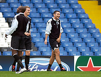 Photo: Daniel Hambury.<br />Chelsea Press Conference and Training.<br />12/09/2005.<br />Chelsea's Frank Lampard enjoys a joke during training.