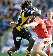 Wycombe, GREAT BRITAIN,  Wasps Paul SACKEY, run's in for a first half try during the Guinness Premiership match,  London Wasps vs Worcester Warriors at Adam's Park Stadium, Bucks on Sun 14.09.2008. [Photo, Peter Spurrier/Intersport-images]