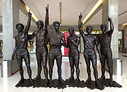 Statues of members of the Indiana Hoosiers 1975-76 national championship men's basketball team in the atrium of the Simon Skjodt Assembly Hall on the campus of the University of Indiana in Bloomington, Ind., Thursday, June 13, 2018. The 17,222-seat arena is the home of the Indiana Hoosiers men's basketball and women's basketball teams. It opened in 1971, replacing the current Gladstein Fieldhouse.[8] The court is named after Branch McCracken, the men's basketball coach who led the school to its first two NCAA National Championships in 1940 and 1953.