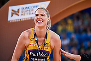 Lightning GK: Caitlin Bassett celebrates.<br /> PERTH, AUSTRALIA - AUGUST 26: West Coast Fever vs the Sunshine Coast Lightning during the Suncorp Super Netball Grand Final match from Perth Arena - Sunday 26th August 2018 in Perth, Australia. (Photo by Daniel Carson/dcimages.org/Netball WA)