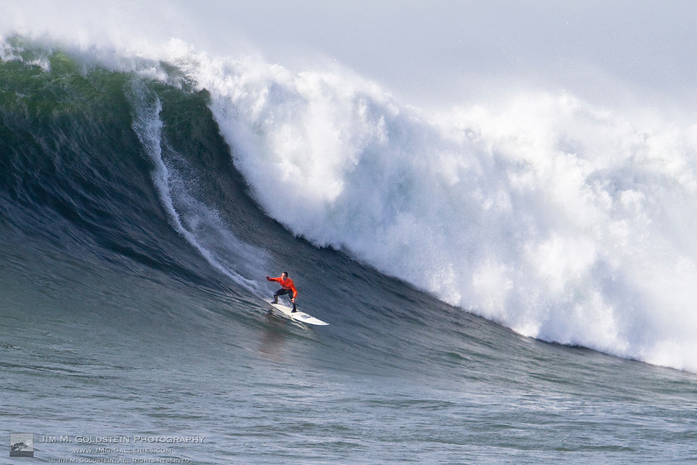 Chris Bertish, first place finisher at the 2010 Mavericks Surf Contest, surfs a giant wave during the finals - Half Moon Bay, California - February 13, 2010