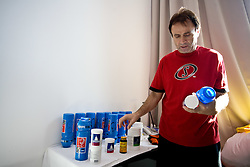 Xhevdet Hoxha preparing a drink for Slovenian players in a Andel's Hotel during Eurobasket 2009, on September 15, 2009 in  Lodz, Poland.  (Photo by Vid Ponikvar / Sportida)