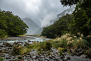 Looking downstream at the confluence of North and South Branches of Young River, on Gillespie Pass Circuit, in Mount Aspiring National Park, in the Southern Alps. Makarora, Otago region, South Island of New Zealand.