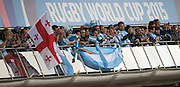 Gloucester, Great Britain, Argentina Supporters, during the Argentina vs Georgia, Pool C. game. 2015 Rugby World Cup, Venue. Kingsholm Stadium. England, Friday - 25/09/2015 <br />