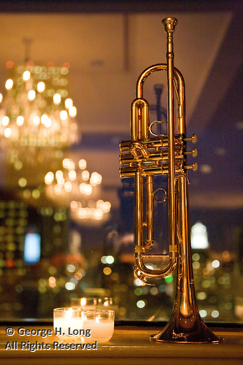 Kermit Ruffins' trumpet; Windsor Court Hotel introduces its Executive Priviledge Program at a party in Chin B