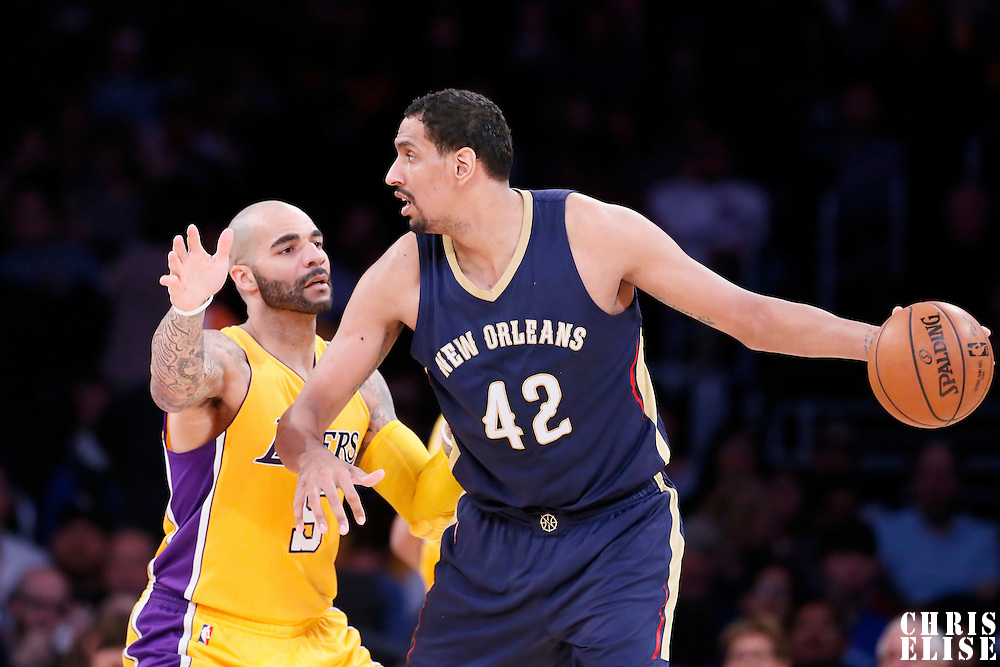 01 April 2015: New Orleans Pelicans center Alexis Ajinca (42) posts up Los Angeles Lakers forward Carlos Boozer (5) during the New Orleans Pelicans 113-92 victory over the Los Angeles Lakers , at the Staples Center, Los Angeles, California, USA.