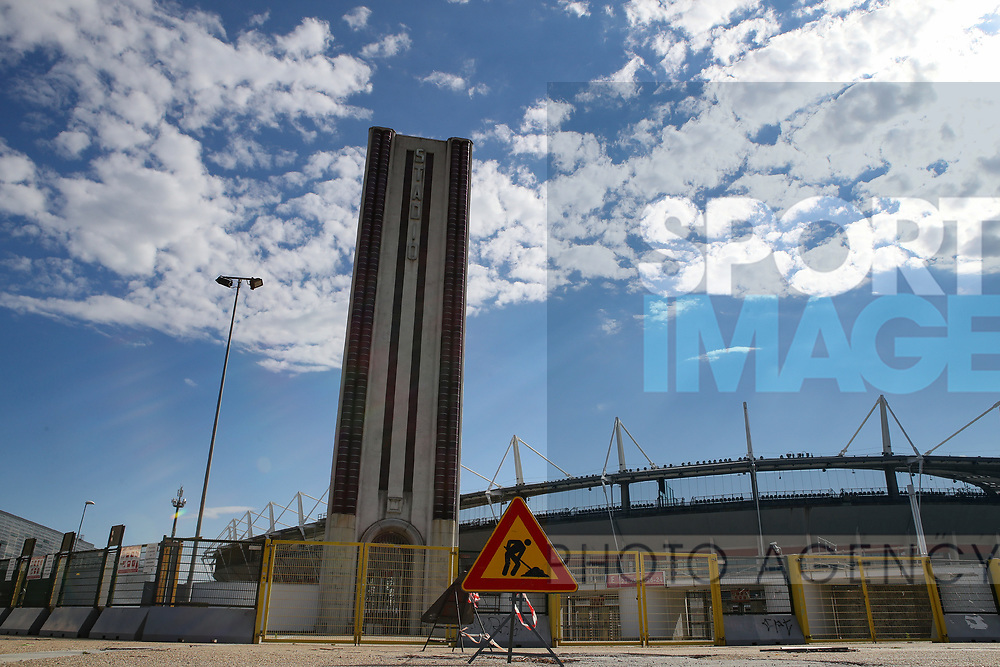 A roadworks sign seen outside the stadium before the Serie A match at Stadio Grande Torino, Turin. Picture date: 20th June 2020. Picture credit should read: Jonathan Moscrop/Sportimage