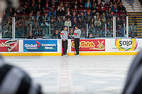 KELOWNA, CANADA - MARCH 4: Referees Chris Crich and Steve Papp review a goal at the Kelowna Rockets against the Tri-City Americans on March 4, 2017 at Prospera Place in Kelowna, British Columbia, Canada.  (Photo by Marissa Baecker/Shoot the Breeze)  *** Local Caption ***