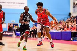 Justin Gray of Bristol Flyers is marked by Rahmon Fletcher of Newcastle Eagles - Photo mandatory by-line: Ryan Hiscott/JMP - 03/11/2018 - BASKETBALL - SGS Wise Arena - Bristol, England - Bristol Flyers v Newcastle Eagles - British Basketball League Championship