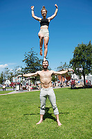 19/07/2016 Repro free: <br /> A Simple Space performer Jacob Randell  and Joanne Curry turned up in Eyre Sq with a tiny sample of their performance which runs in the Black Box all week at the  Galway International Arts Festival which ends on Sunday.<br /> . Photo:Andrew Downes, xposure