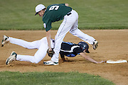 West Deptford's Chris Dillaquilla tags out Pennsylvania's Dylan Pegg on a pick off attempt in the 7th inning during the opening round of the Mid-Atlantic Senior League regional tournament held in West Deptford on Friday, August 5.