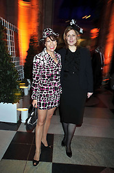 Left to right, KATHY LETE and SARAH BROWN at Hats - an antology of Stephen Jones held at the V&A, London on 23rd February 2009.