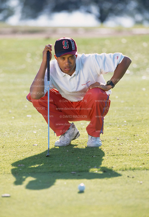 PALO ALTO, CA -  OCTOBER 1994:  Tiger Woods of Stanford University practices during his freshman year at Stanford in October 1994 on the Stanford University Golf Course at Stanford University in Palo Alto, California. (Photo by David Madison/Getty Images) *** Local Caption *** Tiger Woods
