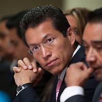 TOLUCA, Mexico.- Aristoteles Nuñez Sanchez, sub secretario de ingresos de la Secretaria de Finanzas del Estado de Mexico, durante la XI Reunion Estatal de Servidores Publicos Hacendarios. Agencia MVT / Mario Vazquez de la Torre. (DIGITAL)