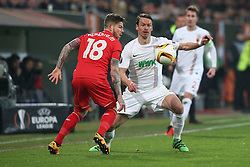 18.02.2016, WWK Arena, Augsburg, GER, UEFA EL, FC Augsburg vs FC Liverpool, Sechzehntelfinale, Hinspiel, im Bild Alberto Moreno ( FC Liverpool ) Markus Feulner ( FC Augsburg ) // during the UEFA Europa League Round of 32, 1st Leg match between FC Augsburg and FC Liverpool at the WWK Arena in Augsburg, Germany on 2016/02/18. EXPA Pictures © 2016, PhotoCredit: EXPA/ Eibner-Pressefoto/ Langer<br /> <br /> *****ATTENTION - OUT of GER*****