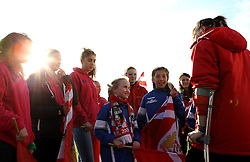 Corinne Yorston defender for Bristol City Women chats with the flag bearers - Mandatory by-line: Robbie Stephenson/JMP - 28/04/2016 - FOOTBALL - Stoke Gifford Stadium - Bristol, England - Bristol City Women v Aston Villa Ladies - FA Women's Super League 2