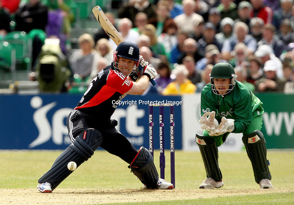 RSA Challenge ODI, Clontarf Cricket Club, Dublin, 25/8/2011<br />Ireland vs England<br />England's Eoin Morgan and Niall O'Brien of Ireland<br />Mandatory Credit &copy;INPHO/James Crombie  *** Local Caption ***